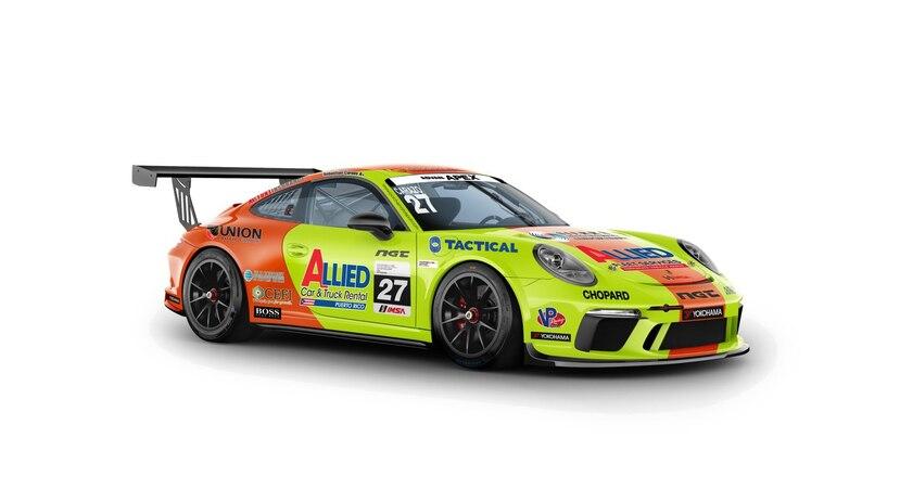 Auto de carrera que usará Sebastián Carazo, cuando comience la nueva temporada de la serie IMSA Porsche GT3 Cup Challenge USA by Yokohama. (Suministrada)